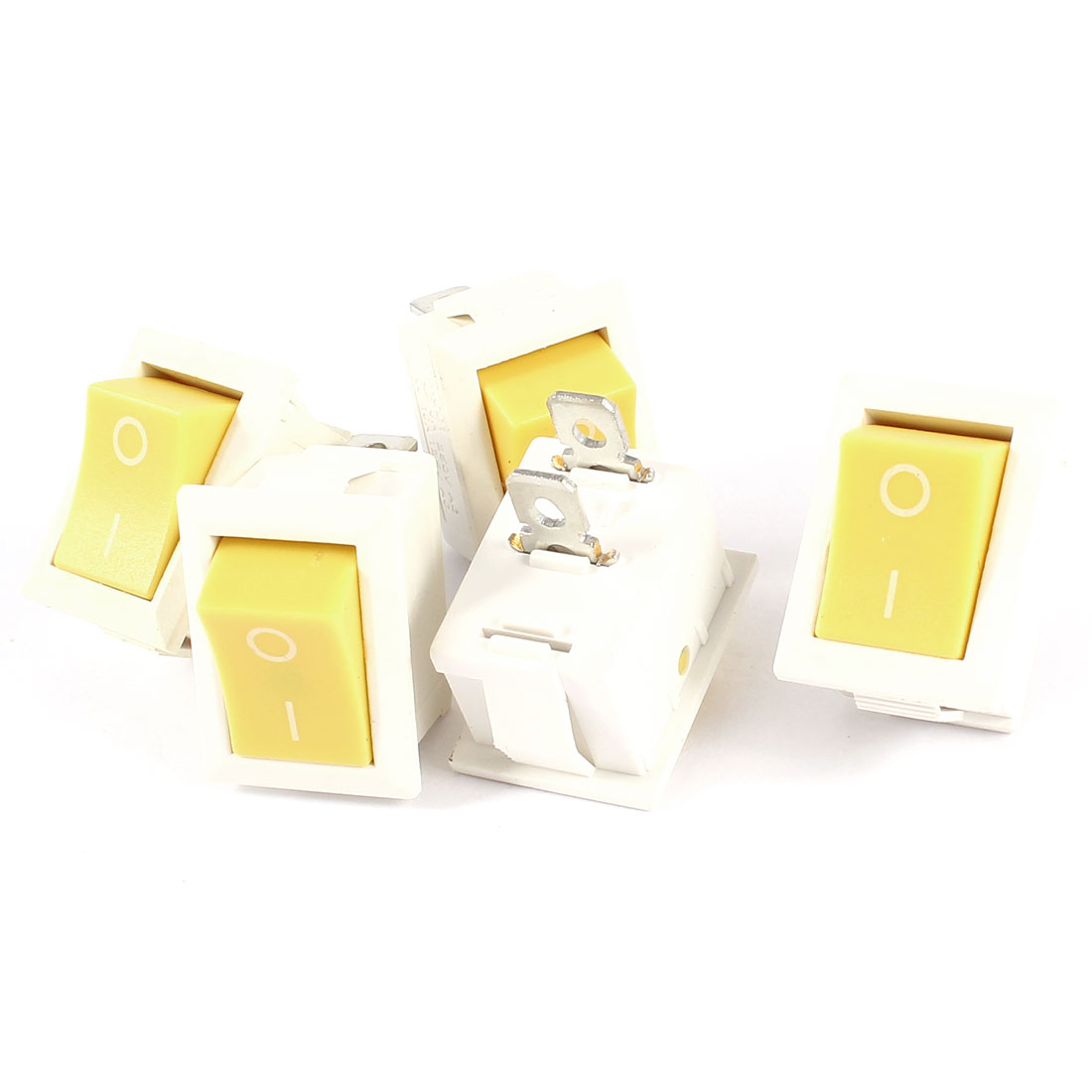 5 Pcs KCD1 AC 250V 6A 125V 10A 2Pin SPST Power ON/OFF Panel Mount Rocker Switch Yellow White