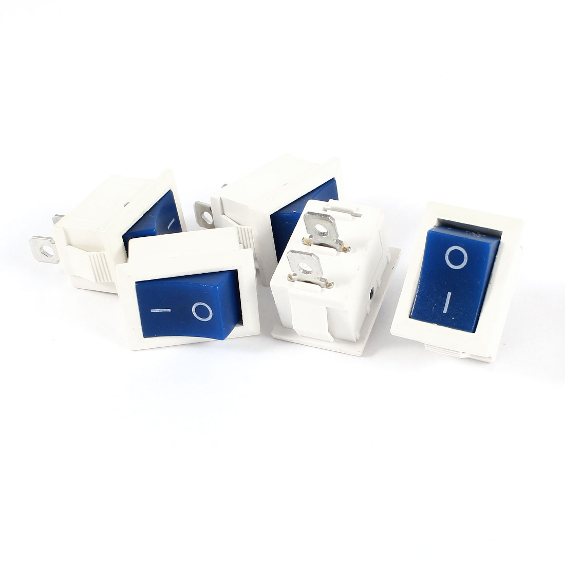 5 Pcs KCD1 AC 250V 6A 125V 10A 2Pin SPST Power ON/OFF Panel Mount Rocker Switch Blue White