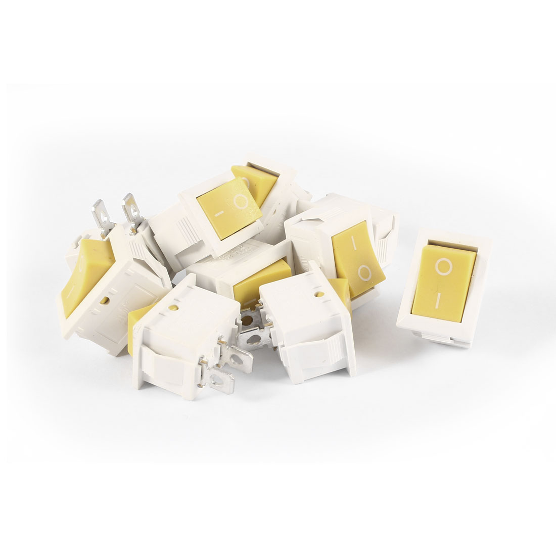 10 Pcs KCD1 AC 250V 6A 125V 10A 2Pin SPST Power ON/OFF Panel Mount Rocker Switch Yellow White