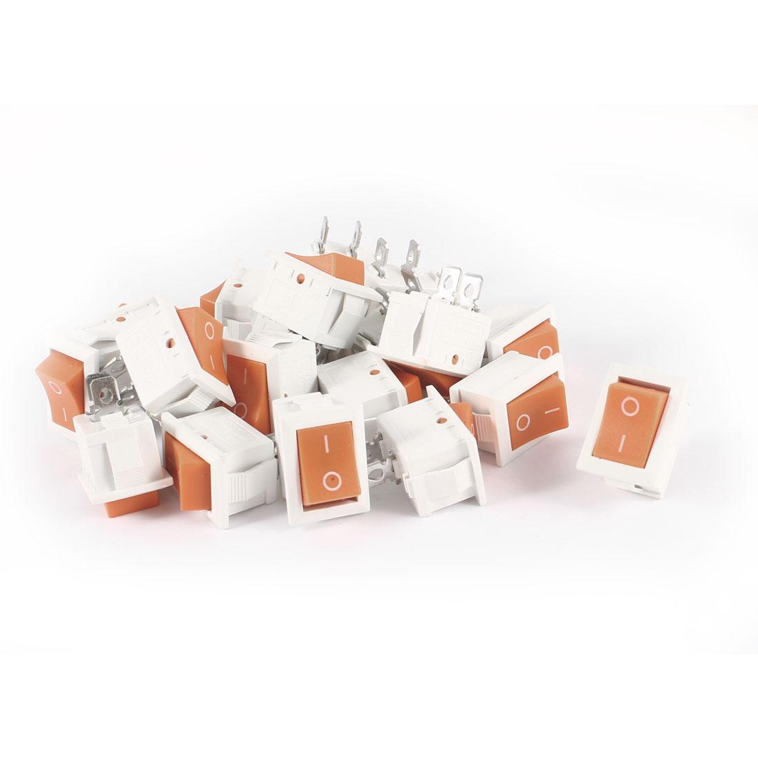 20 Pcs KCD1 AC 250V 6A 125V 10A 2Pin SPST Power ON/OFF Panel Mount Rocker Switch Orange White