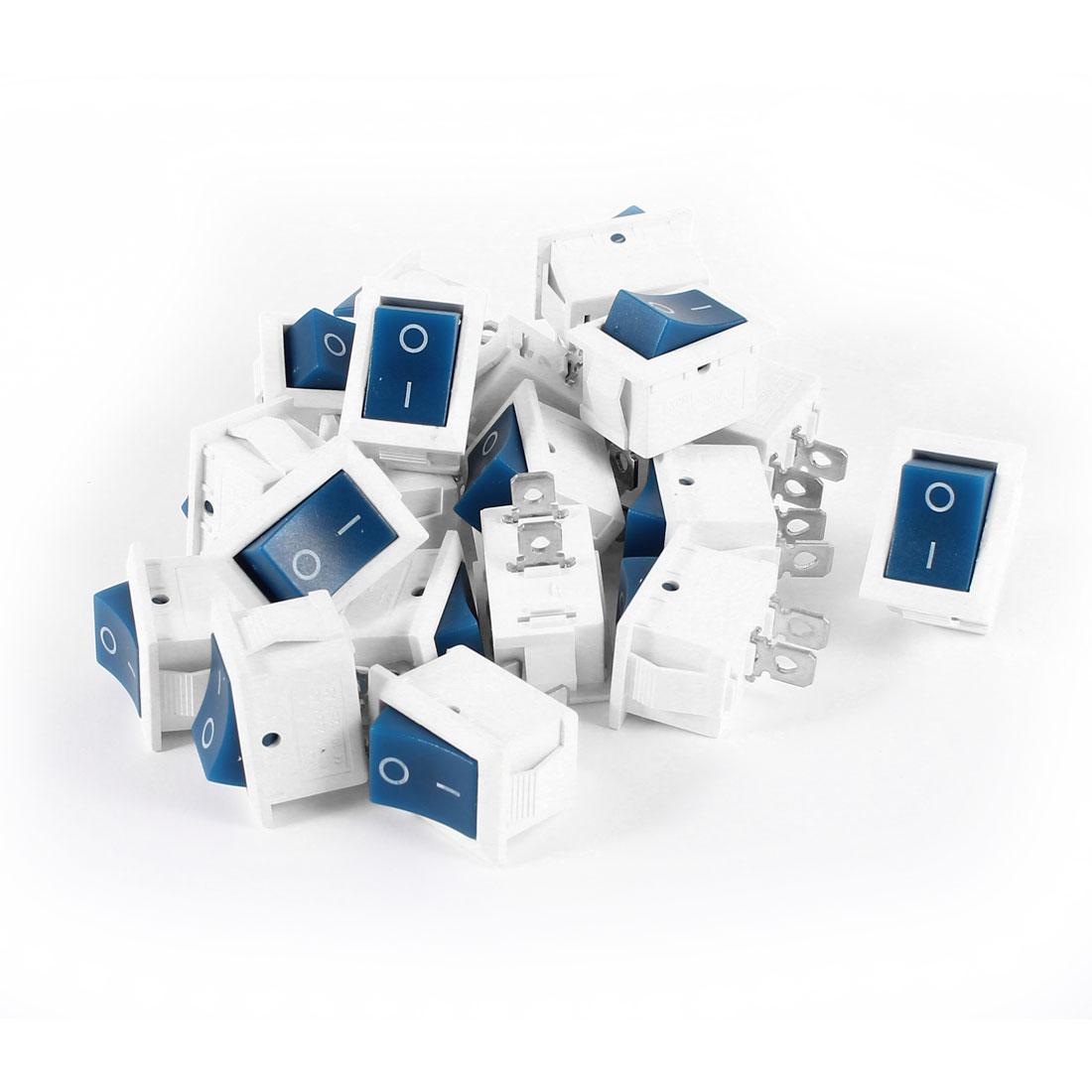20 Pcs KCD1 AC 250V 6A 125V 10A 2Pin SPST Power ON/OFF Panel Mount Rocker Switch Blue White
