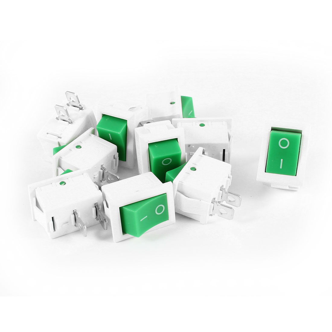 10 Pcs KCD1 AC 250V 6A 125V 10A 2Pin SPST Power ON/OFF Panel Mount Rocker Switch Green White