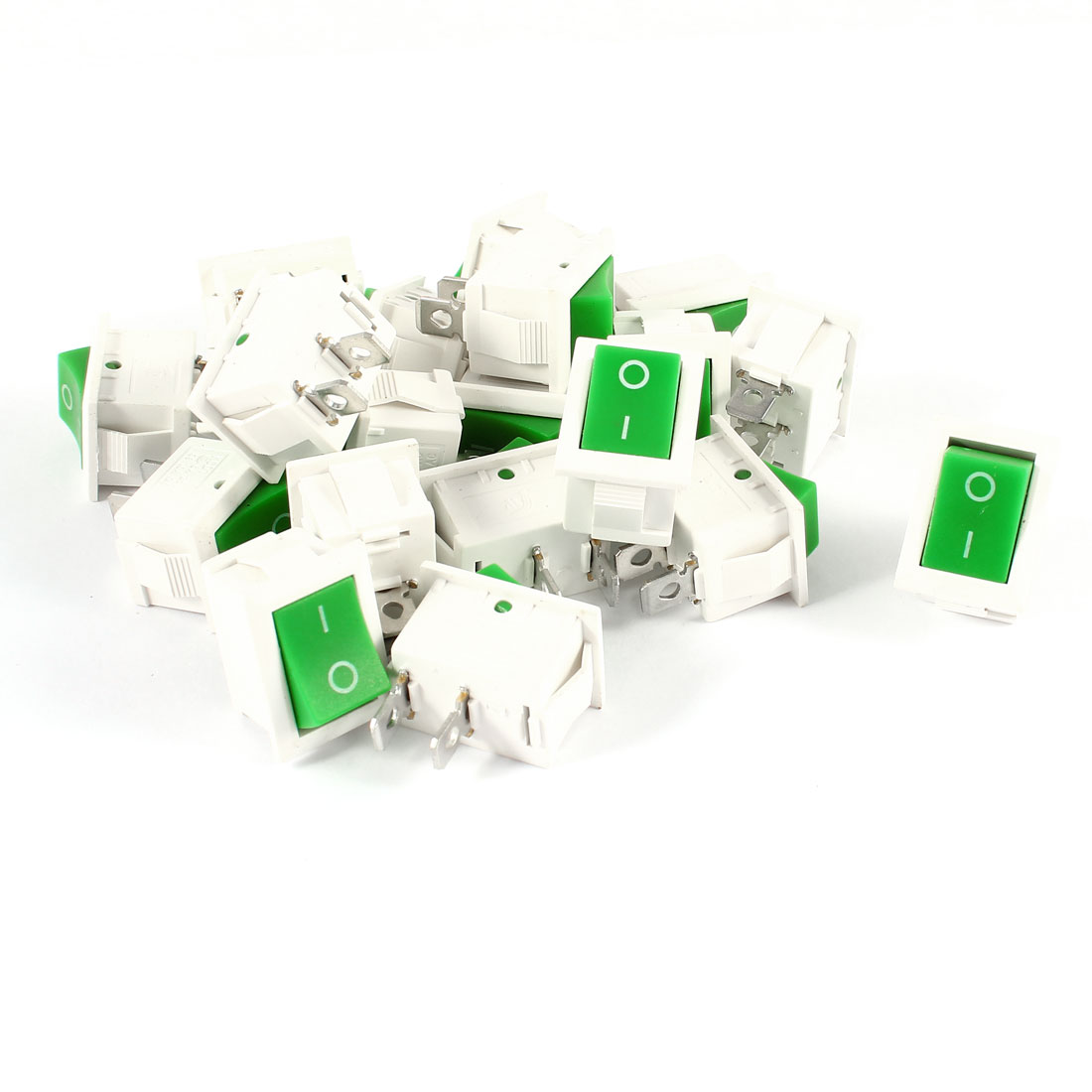 20 Pcs KCD1 AC 250V 6A 125V 10A 2Pin SPST Power ON/OFF Panel Mount Rocker Switch Green White