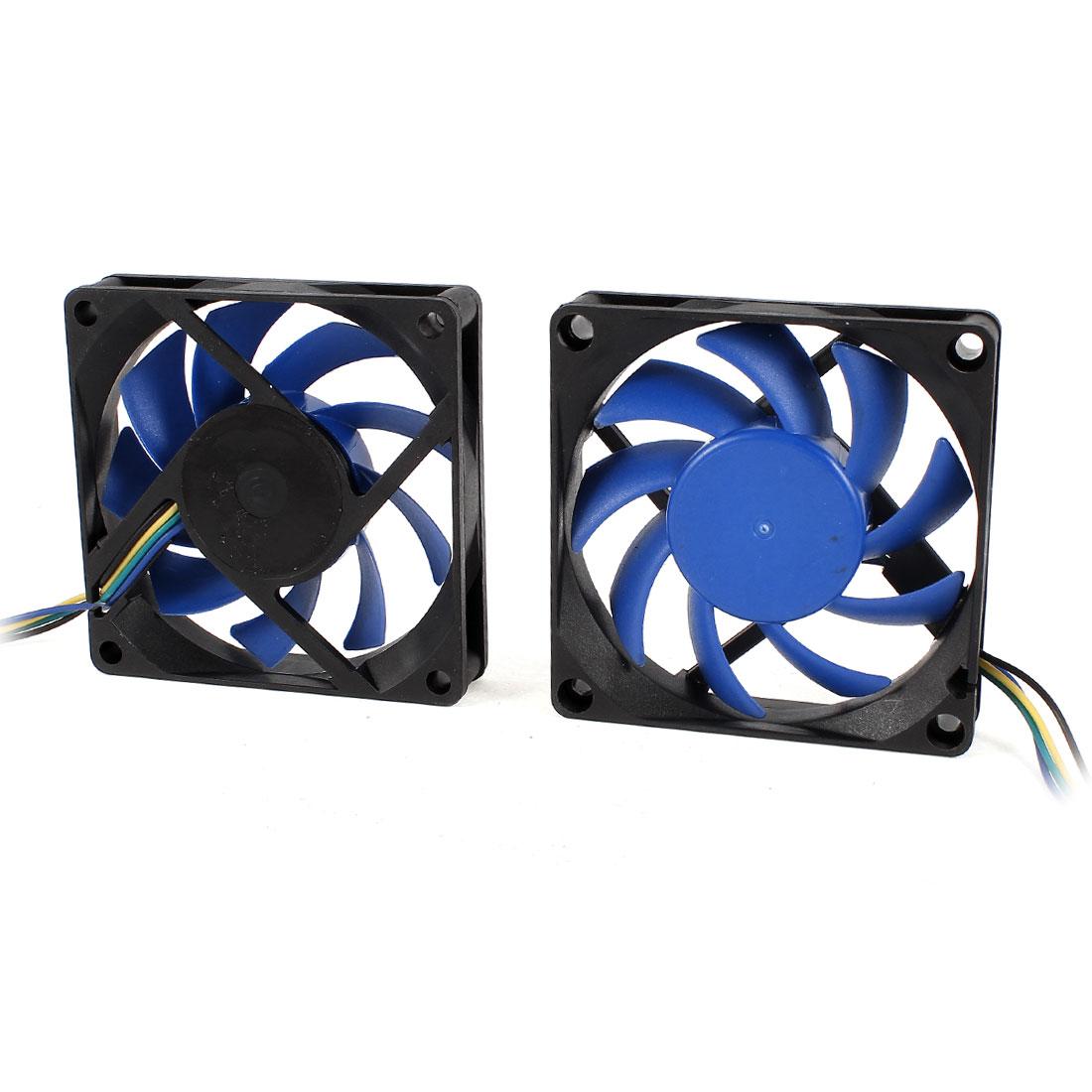 2 Pcs 70mm x 15mm 12V 4 Pins PWM PC Computer Case CPU Cooler Cooling Fan Black Blue
