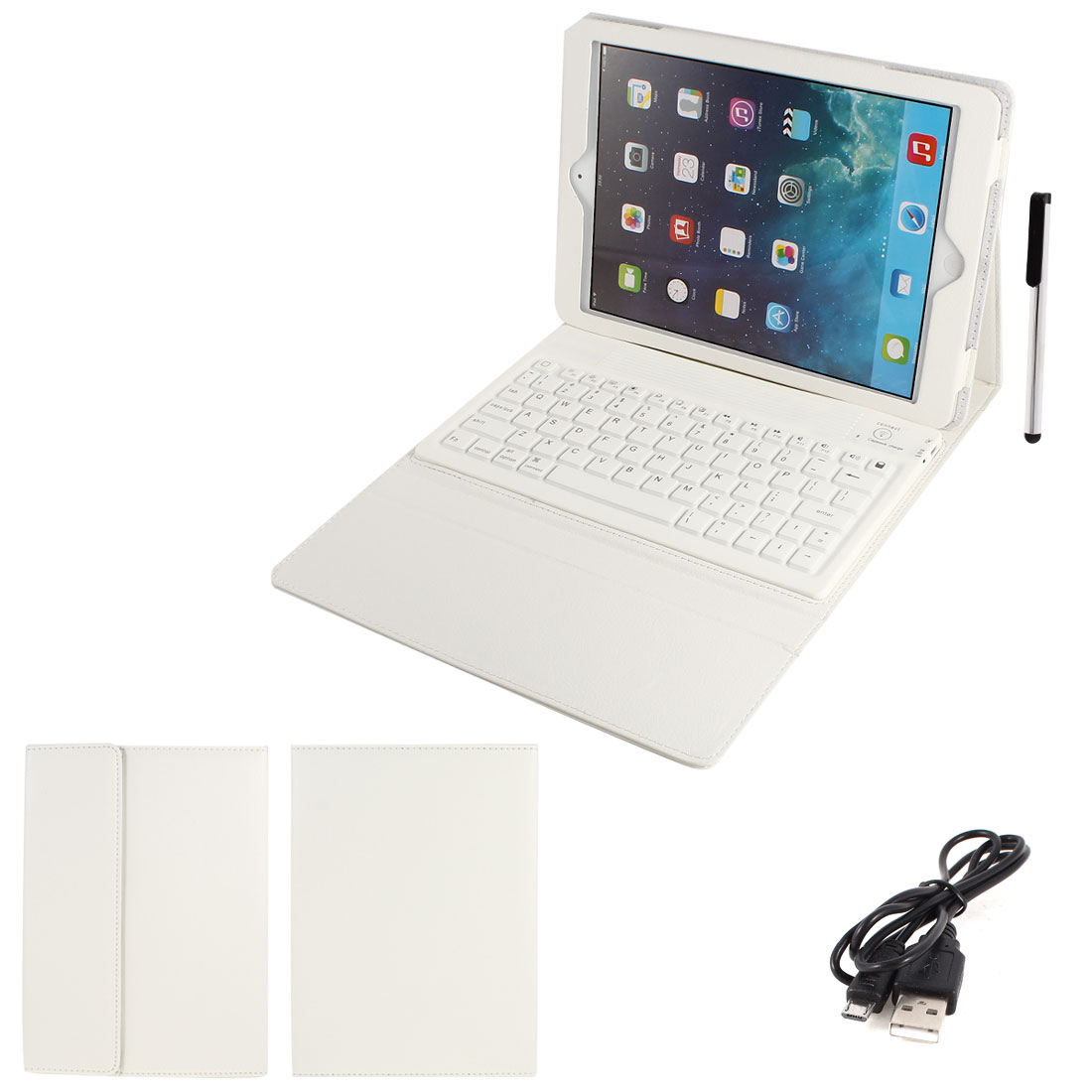 White PU Leather Magnetic Closure bluetooth Wireless Silicone Keyboard Stand Case Cover for iPad 5 5th Air