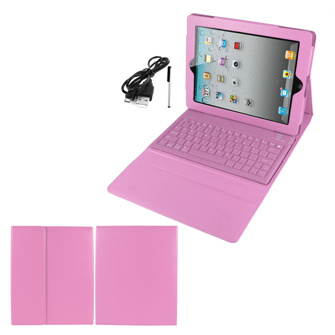 Pink PU Leather Magnetic Closure bluetooth Wireless Silicone Keyboard Stand Case Cover for iPad 5 5th Air