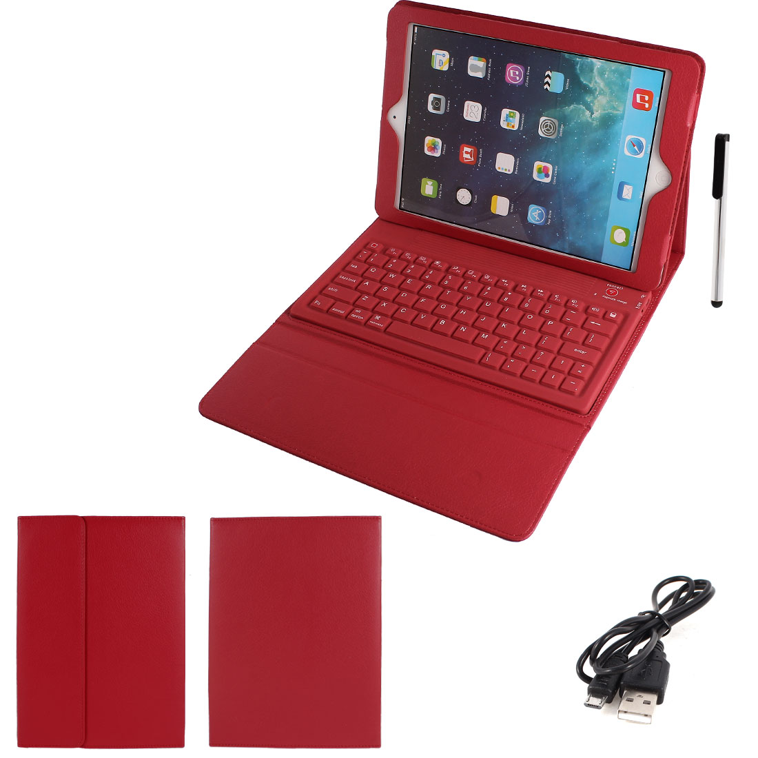 Red PU Leather Magnetic Closure bluetooth Wireless Silicone Keyboard Stand Case Cover for iPad 5 5th Air