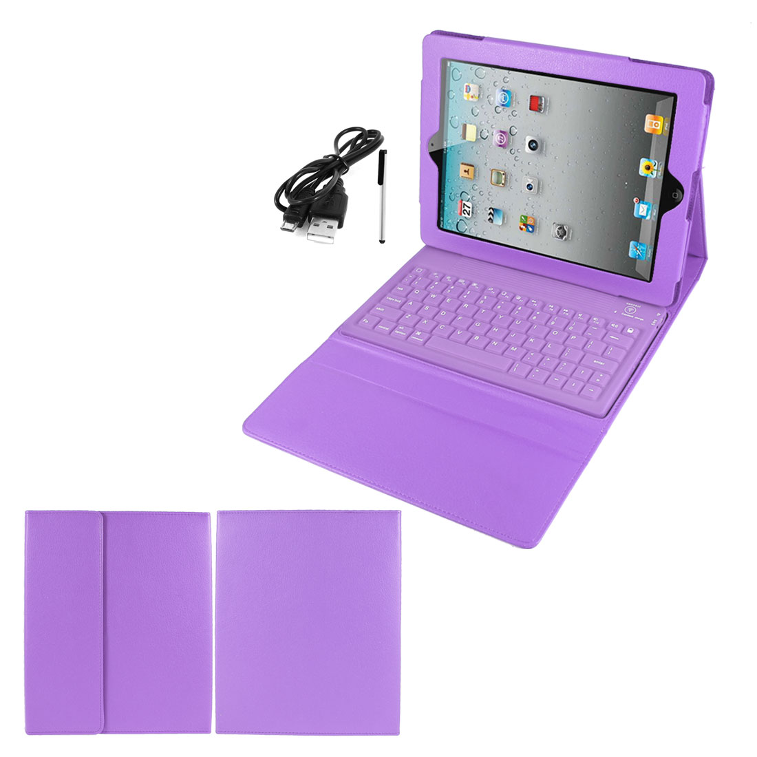 Purple PU Leather Magnetic Closure bluetooth Wireless Silicone Keyboard Stand Case Cover for iPad 2 3 4
