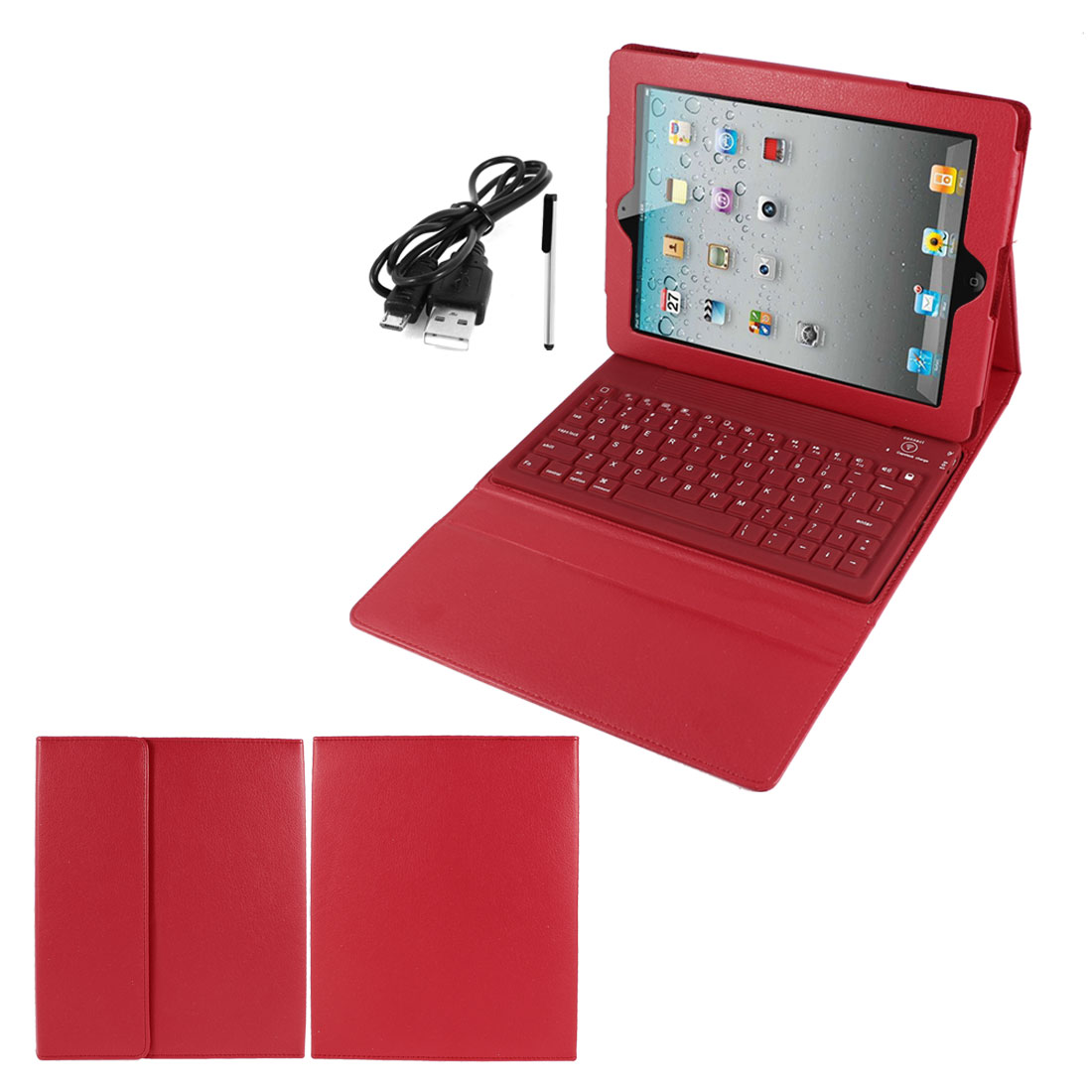 Red PU Leather Magnetic Closure bluetooth Wireless Silicone Keyboard Stand Case Cover for iPad 2 3 4