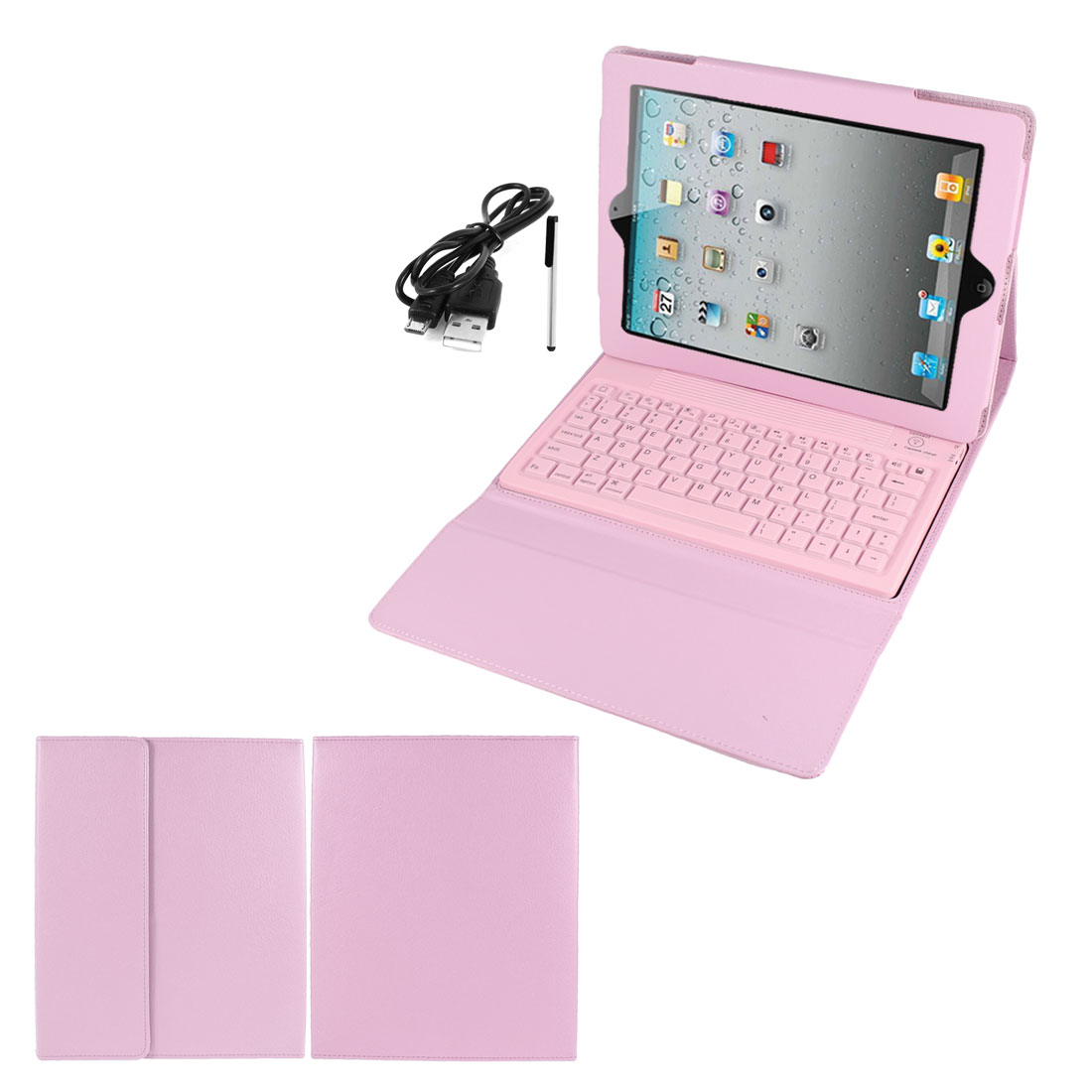 Pink PU Leather Magnetic Closure bluetooth Wireless Silicone Keyboard Stand Case Cover for iPad 2 3 4