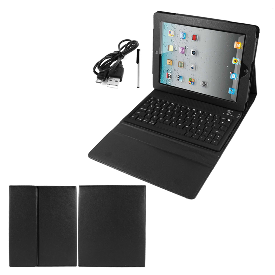 Black PU Leather Magnetic Closure bluetooth Wireless Silicone Keyboard Stand Case Cover for iPad 2 3 4