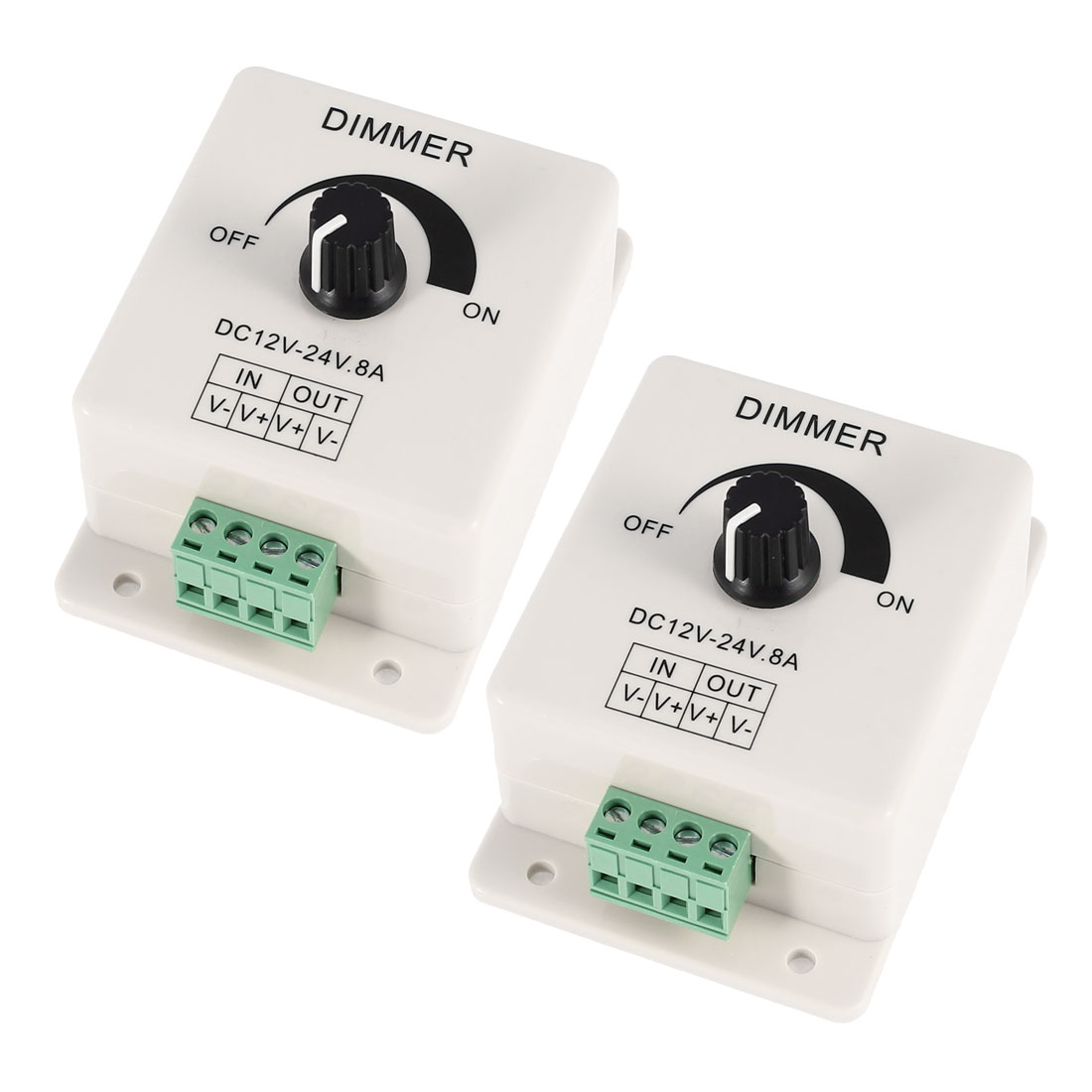 2 Pcs Single Color LED Light Brightness Control Dimmer Switch DC 12V-24V 8A