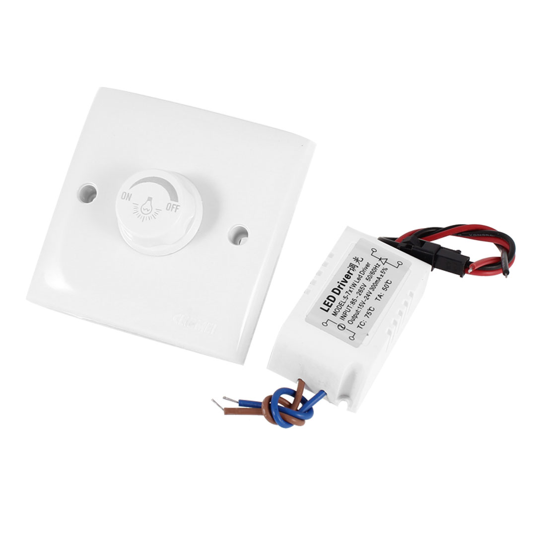 AC 200-250V White Wall Panle Plate LED Lamp Light Dimmer Control Switch w LED Driver