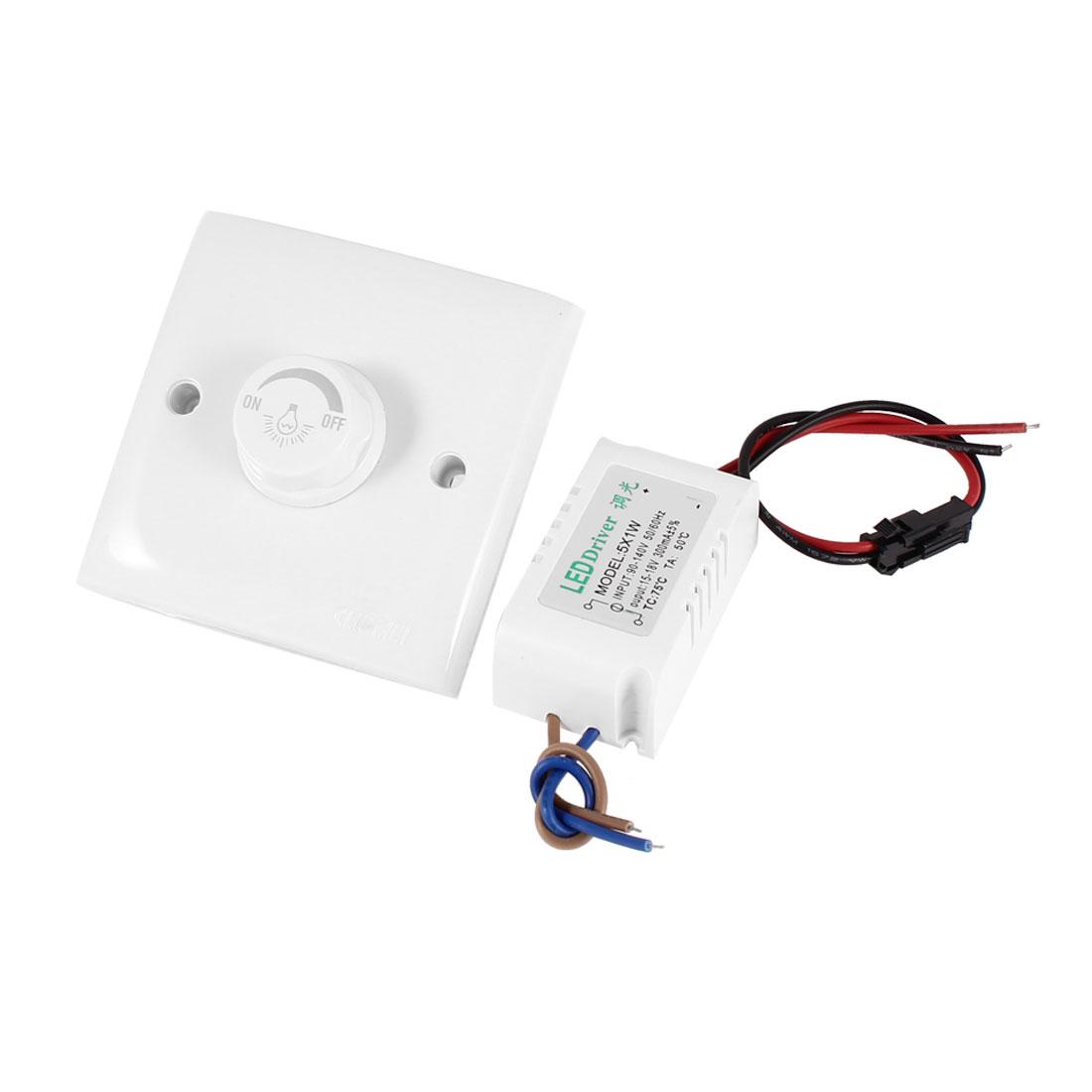 AC 200-250V White Wall Panle Plate LED Lamp Light Dimmer Control Switch w 15V-18V 300mA LED Driver