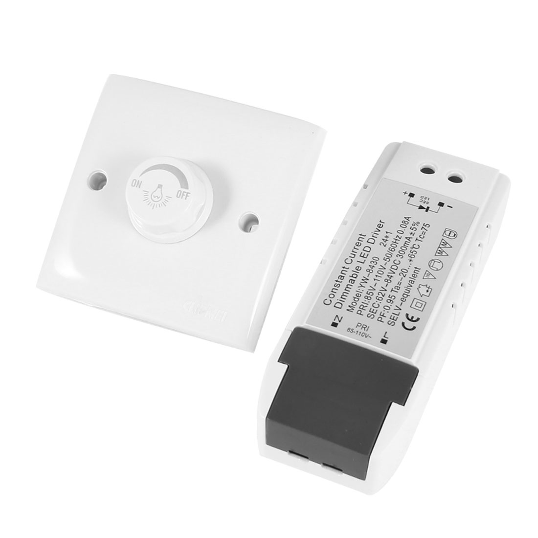 AC 200-250V White Wall Plate LED Lamp Light Dimmer Control Switch w 62-84V 300mA Driver