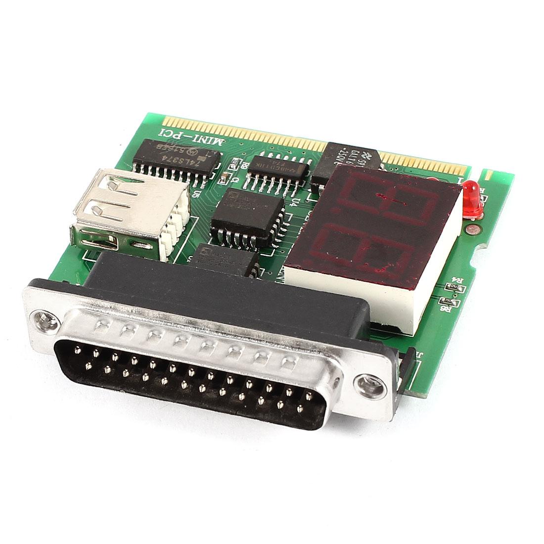 DB25 Parallel Port LPT Mini-PCI USB Port 2 Digit Motherboard Test Analyzer Diagnostic Card for PC Laptop Notebook