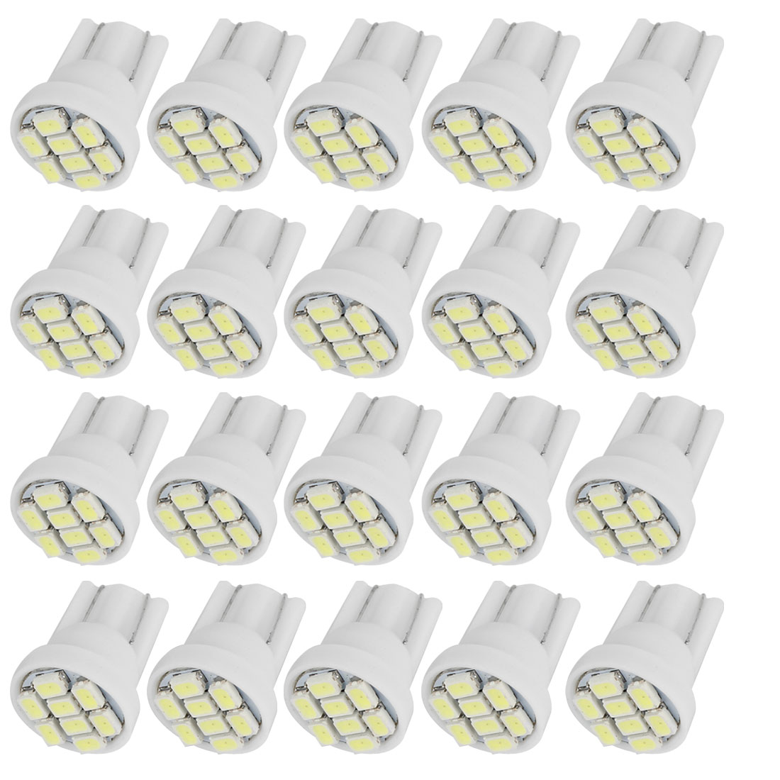20 Pcs T10 White 1210 8-SMD LED Dashboard Wedge Light Bulbs 12V for Car internal