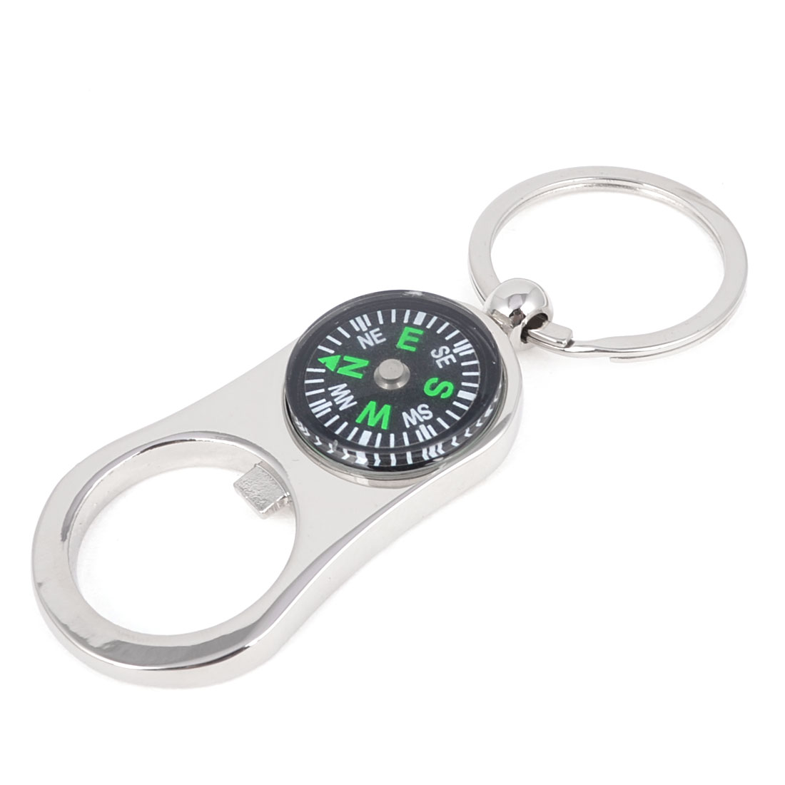 Compass Design Bottle Opener Dangle Pendant Keychain Silver Tone