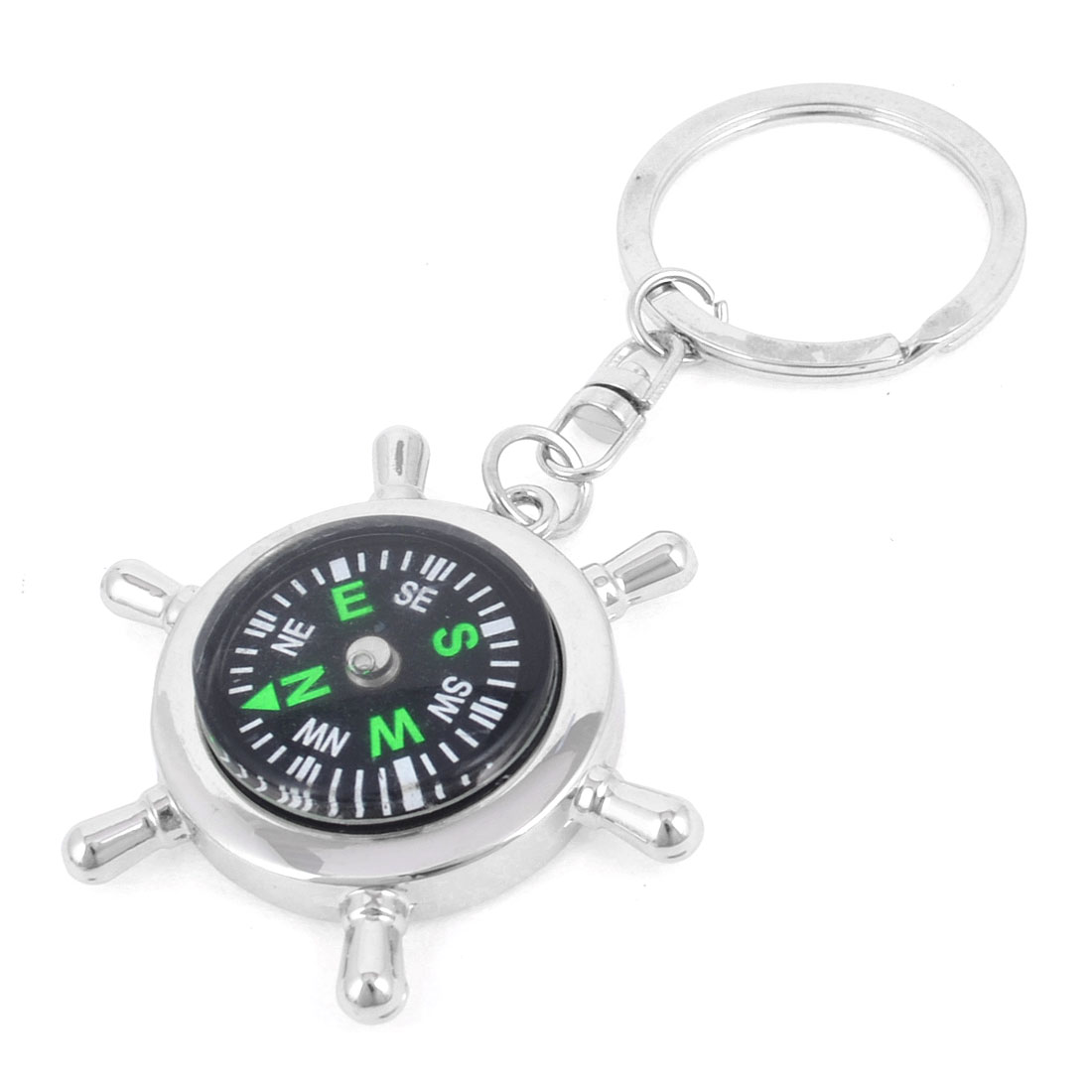 Helm Compass Design Pendant Keychain Key Ring Silver Tone
