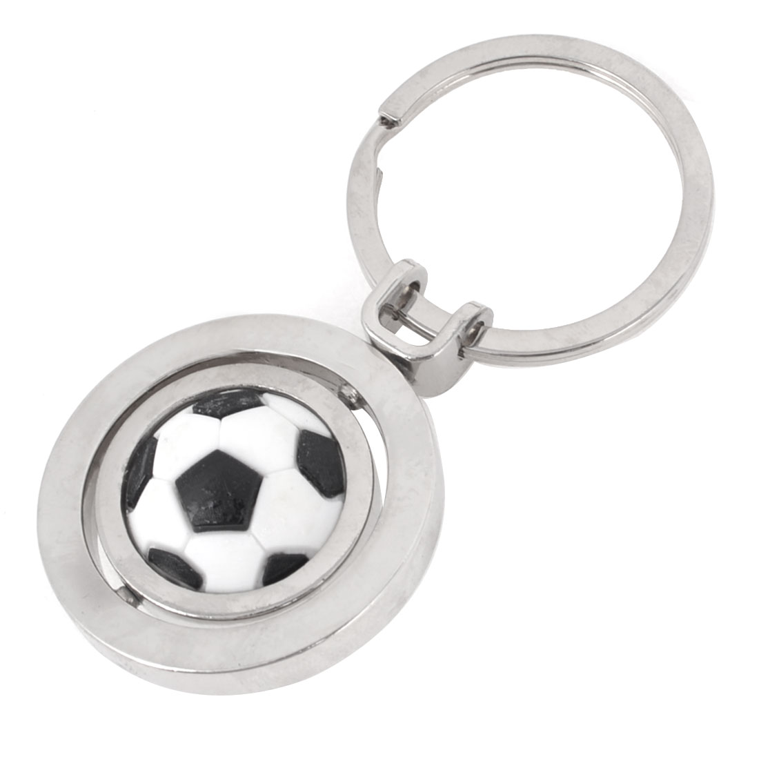 Football Design Pendant Keychain Key Ring Decor Silver Tone