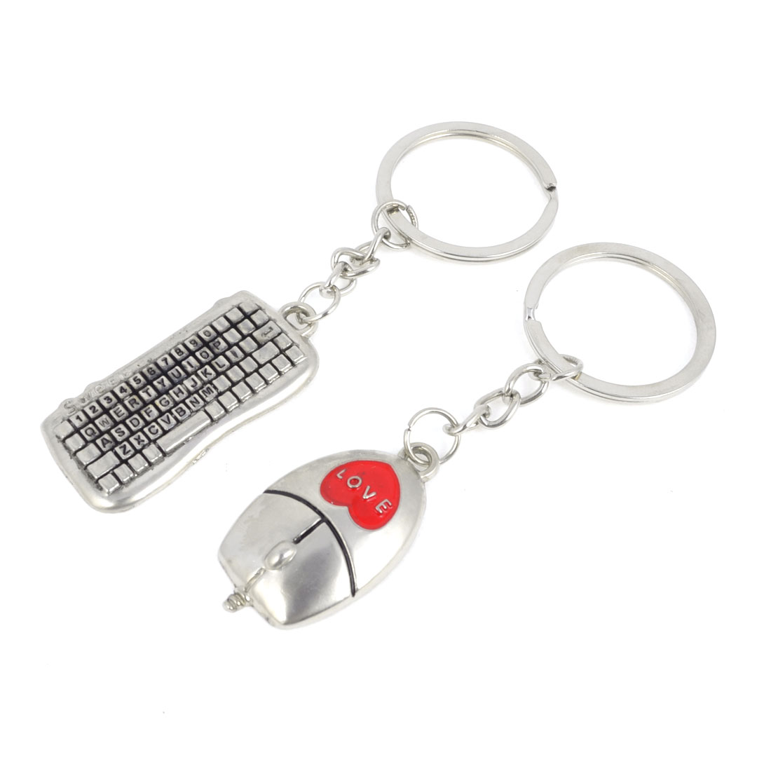 Pair Mouse Keyboard Design Pendant Keychain Key Ring Decoration Silver Tone