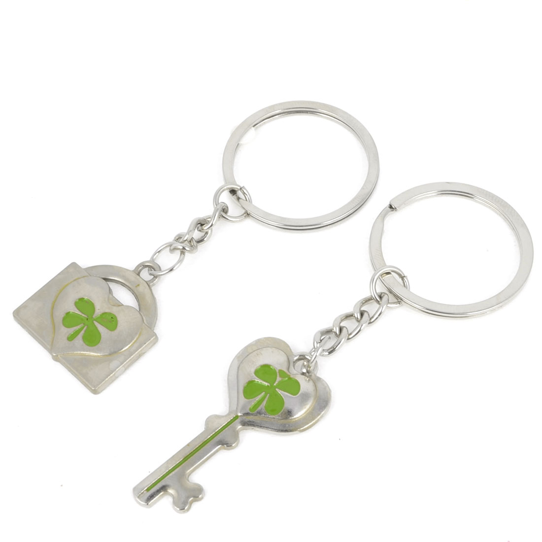 Pair Padlock Key Design Clover Decor Dangle Pendant Keychain Silver Tone