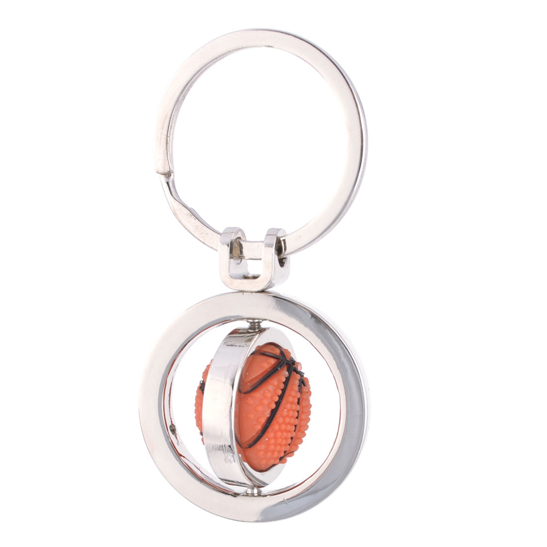 Basketball Design Pendant Keychain Key Ring Decor Silver Tone