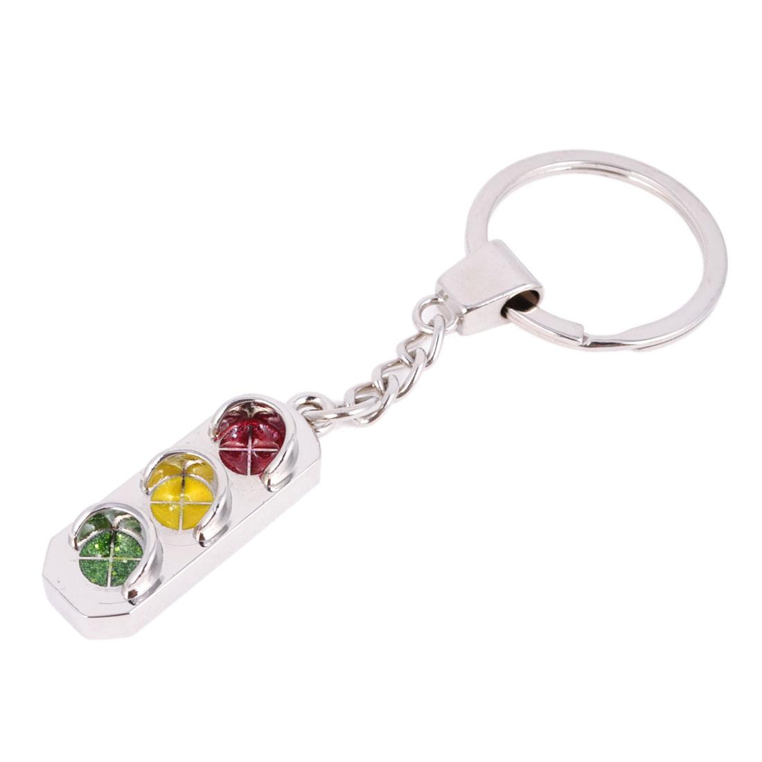 Split Ring Traffic Light Design Dangle Pendant Keychain Silver Tone