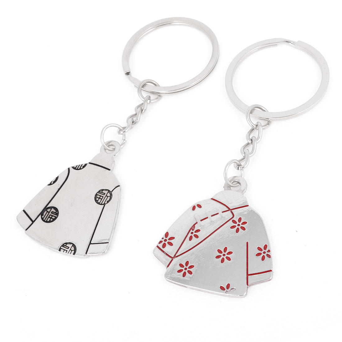 2pcs Silver Tone Clothes Design Decor Dangle Pendant Keychain for Couple
