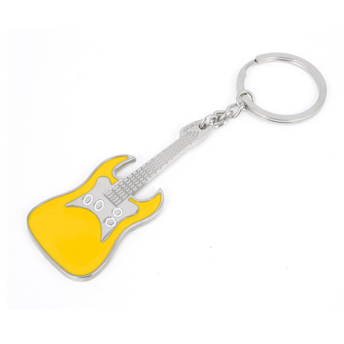 Silver Tone Yellow Guitar Design Decor Dangle Pendant Keychain