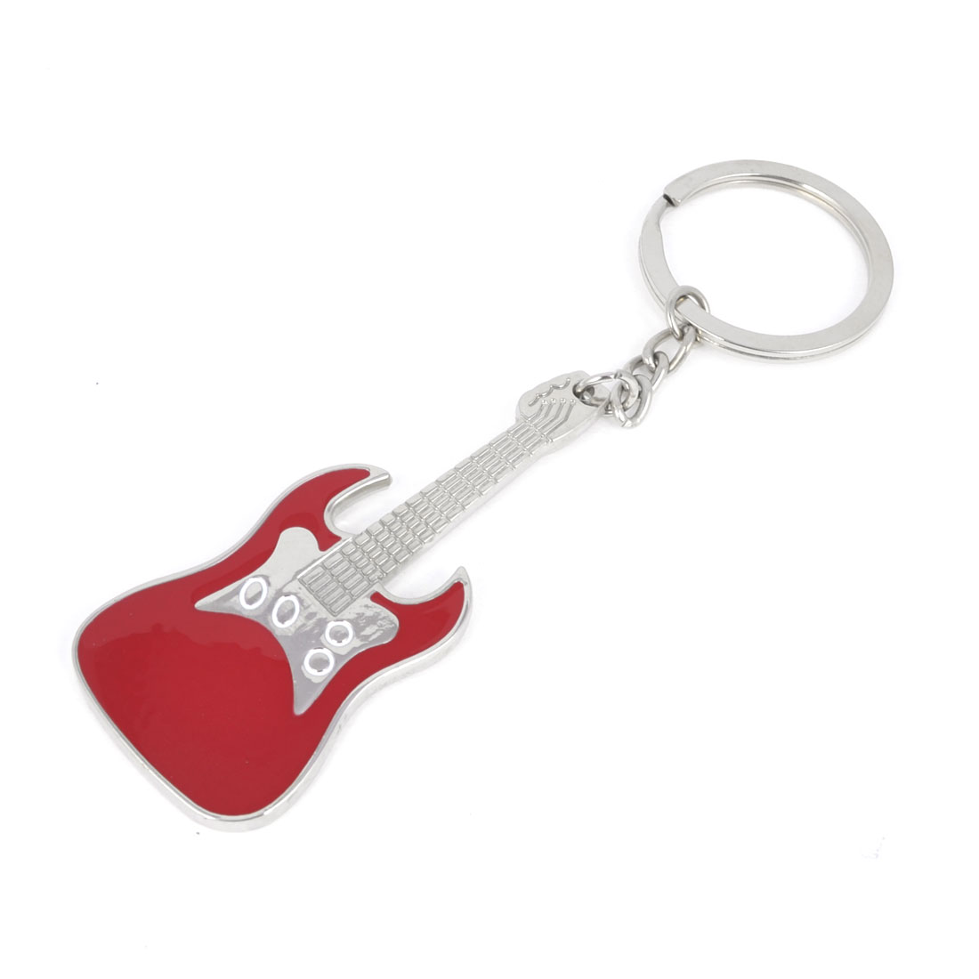 Guitar Design Pendant Keychain Key Ring Decor Silver Tone Red