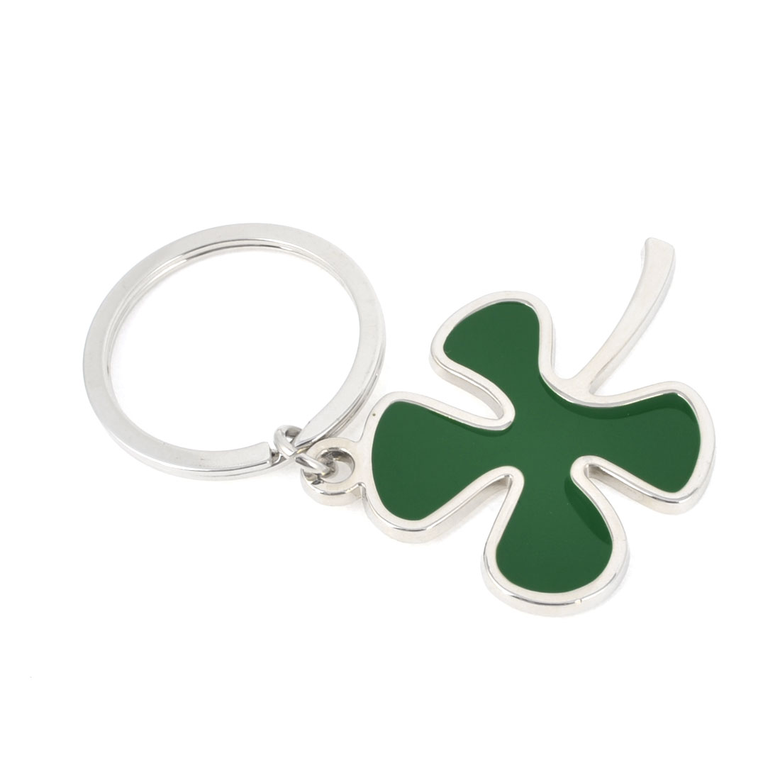 Metal Green Clover Style Pendant Keychain Keyring Hanging Ornament
