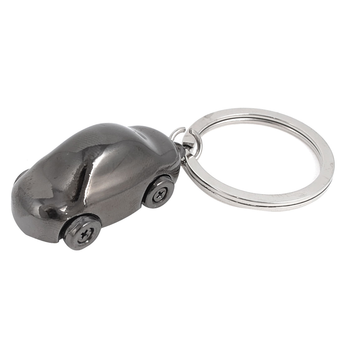 Silver Gray Car Shape Decor Dangle Pendant Keychain Silver Tone