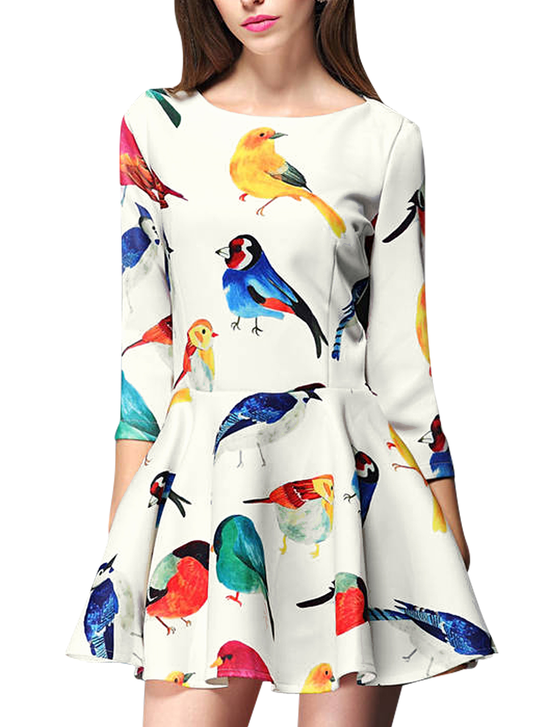 Lady Casual 3/4 Sleeve Zip Back Birds Prints Skater Dress White L