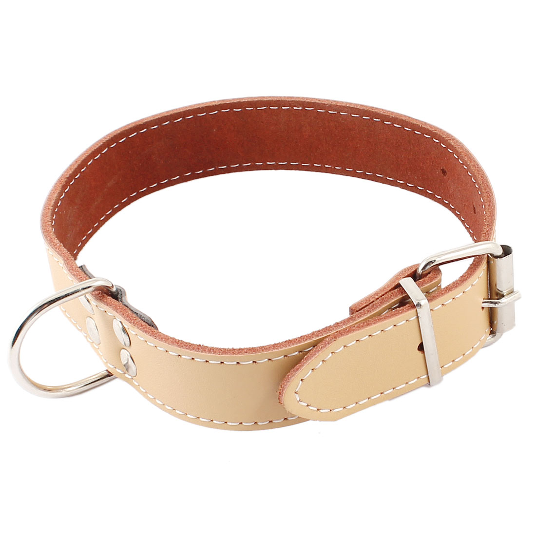 Single Prong Buckle Faux Leather Adjustable Belt Collar Necklace Khaki for Pet Cat Dog Doggy