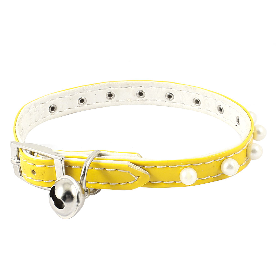 Single Prong Buckle Metal Bell Plastic Beads Detail Faux Leather Adjustable Belt Collar Yellow for Pet Cat Dog Doggy