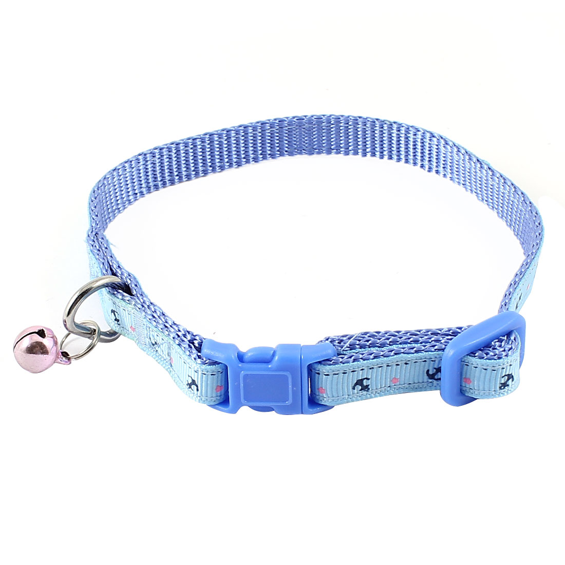 Release Buckle Pink Metal Bell Detail Anchor Pattern Nylon Adjustable Belt Collar Blue for Pet Cat Dog Doggy