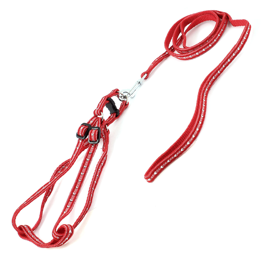 Trigger Hook Release Buckle Adjustable Harness Halter Leash Red Silver Tone for Pet Dog Yorkie