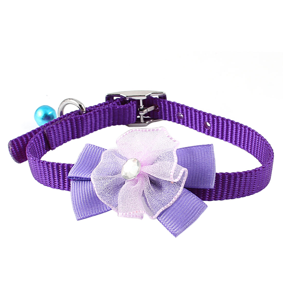 Single Prong Buckle Bowtie Faux Crystal Metal Bell Detail Nylon Adjustable Belt Collar Purple for Pet Cat Dog Doggy