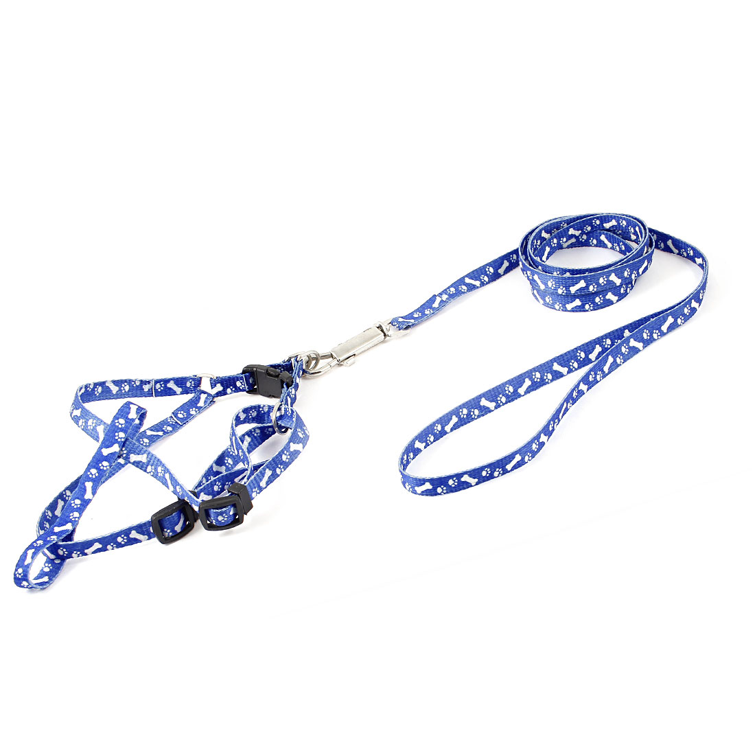 Metal Trigger Hook White Bone Paw Pattern Pet Dog Yorkie Harness Halter Leash Blue