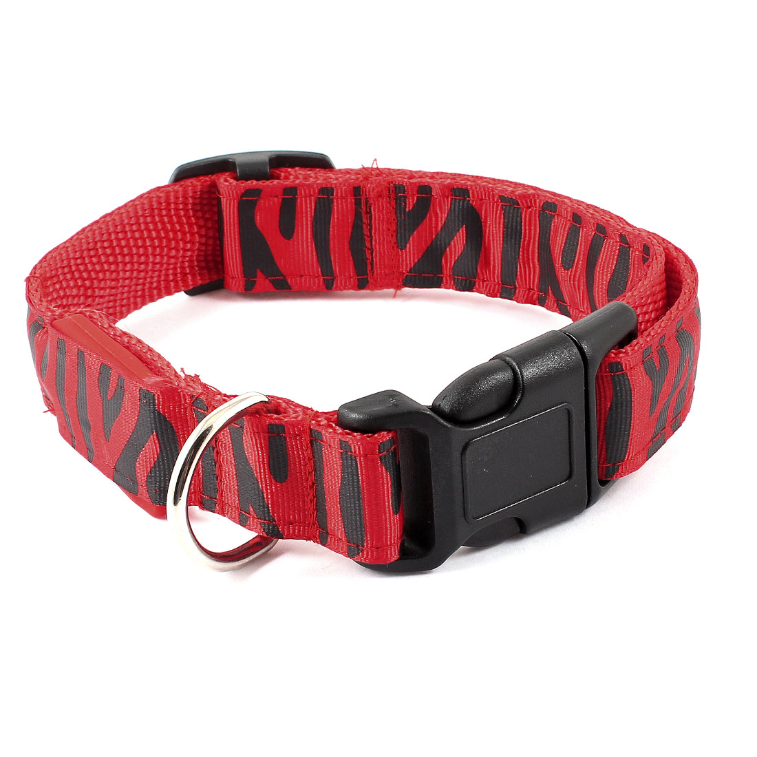 Pet Dog Doggy Release Buckle 3 Modes LED Flash Light Night Safety Zebra Print Nylon Collar Belt Black Red M