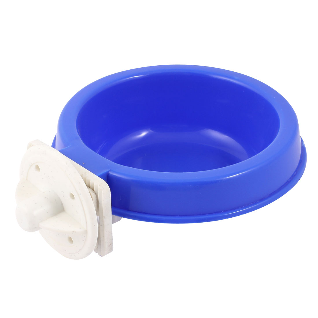 """4"""" Dia 1.6"""" Depth Puppy Dog Cat Pet Outdoor Cage Fixed Hanging Plastic Feed Bowl Round Shape Dinner Food Water Feeder Blue"""