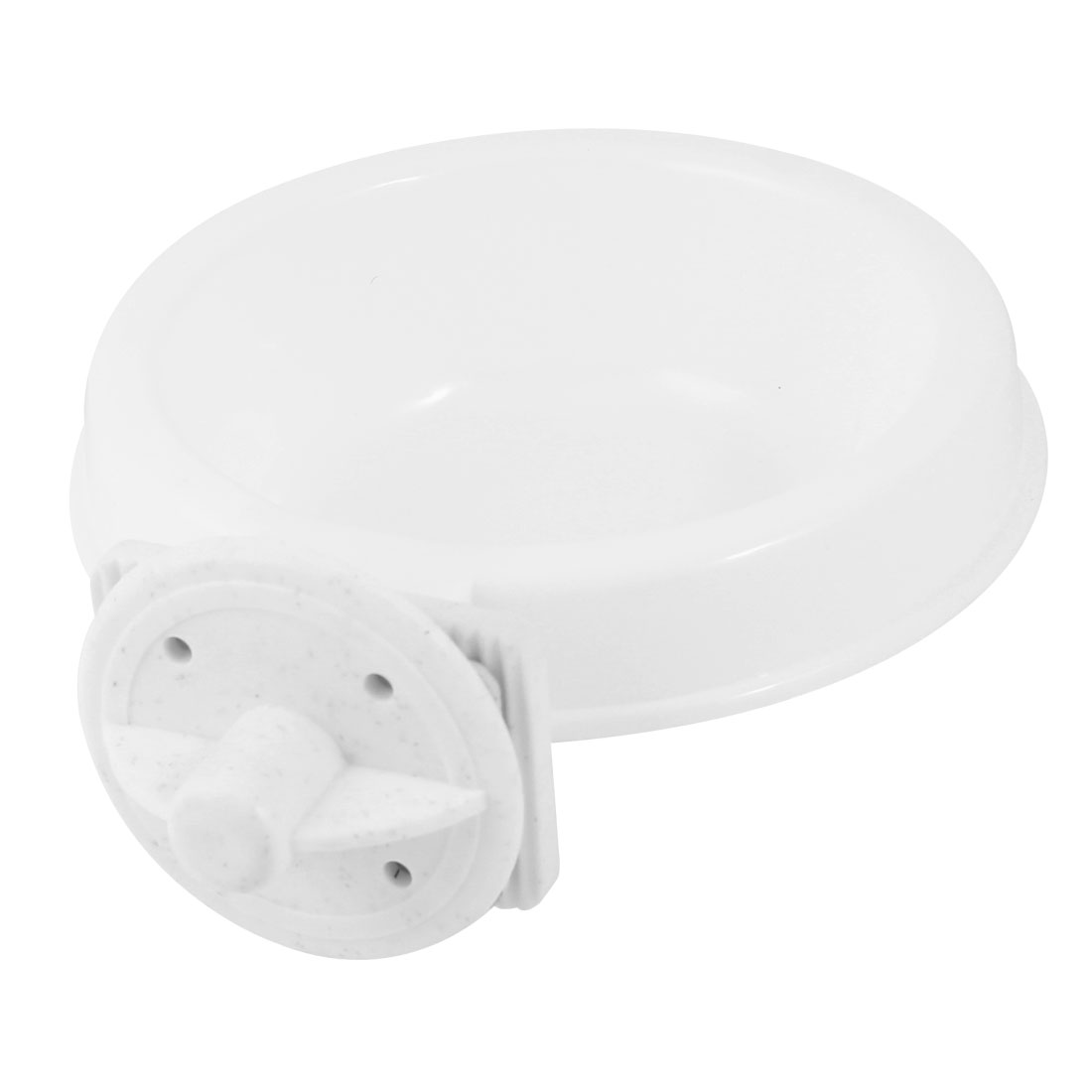 "4"" Dia 1.6"" Depth Puppy Dog Cat Pet Outdoor Cage Hanging Plastic Feed Bowl Round Shape Dinner Food Water Feeder White"