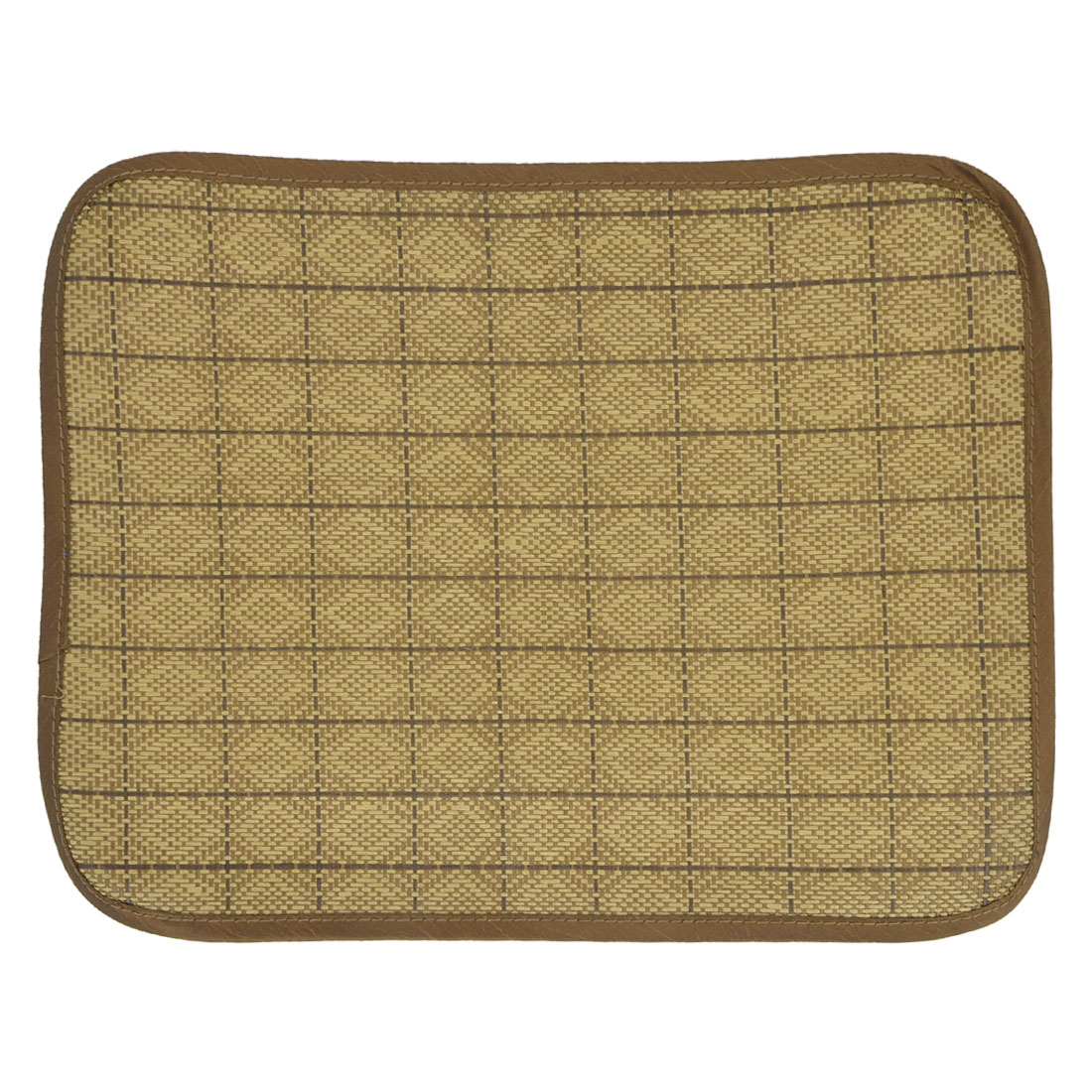 Brown Rattan Weaved Design Summer Pet Puppy Dog Cat Bed Mat 40cm x 30cm
