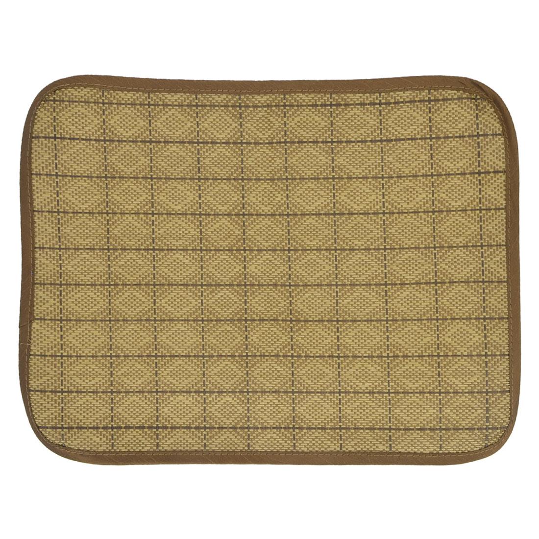 Brown Rattan Weaved Design Summer Pet Puppy Dog Cat Bed Mat 40cm x 30cm