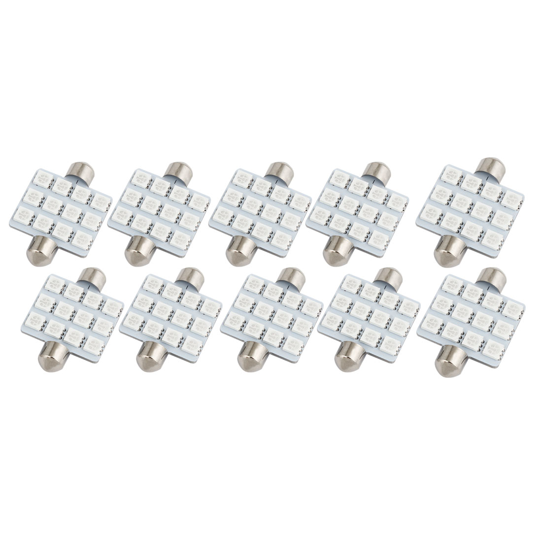 10PCS 41mm 12-LED 5050 Blue SMD Festoon Map Light Lamp 212-2 12844 Internal