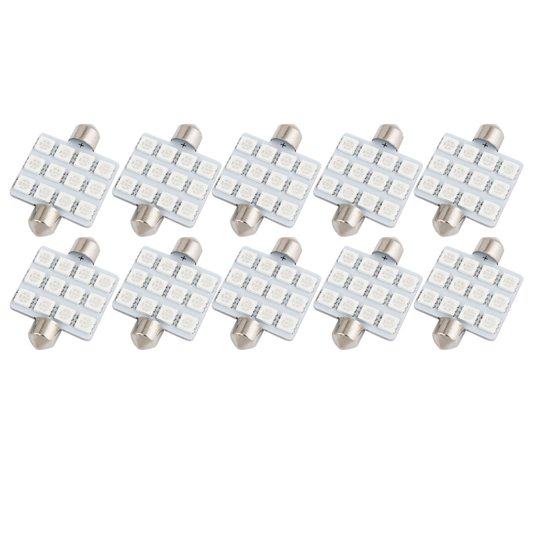 10pcs 41mm 5050 SMD 12-LED Festoon Dome Light Green 6413 211-2 212-2 560 Internal