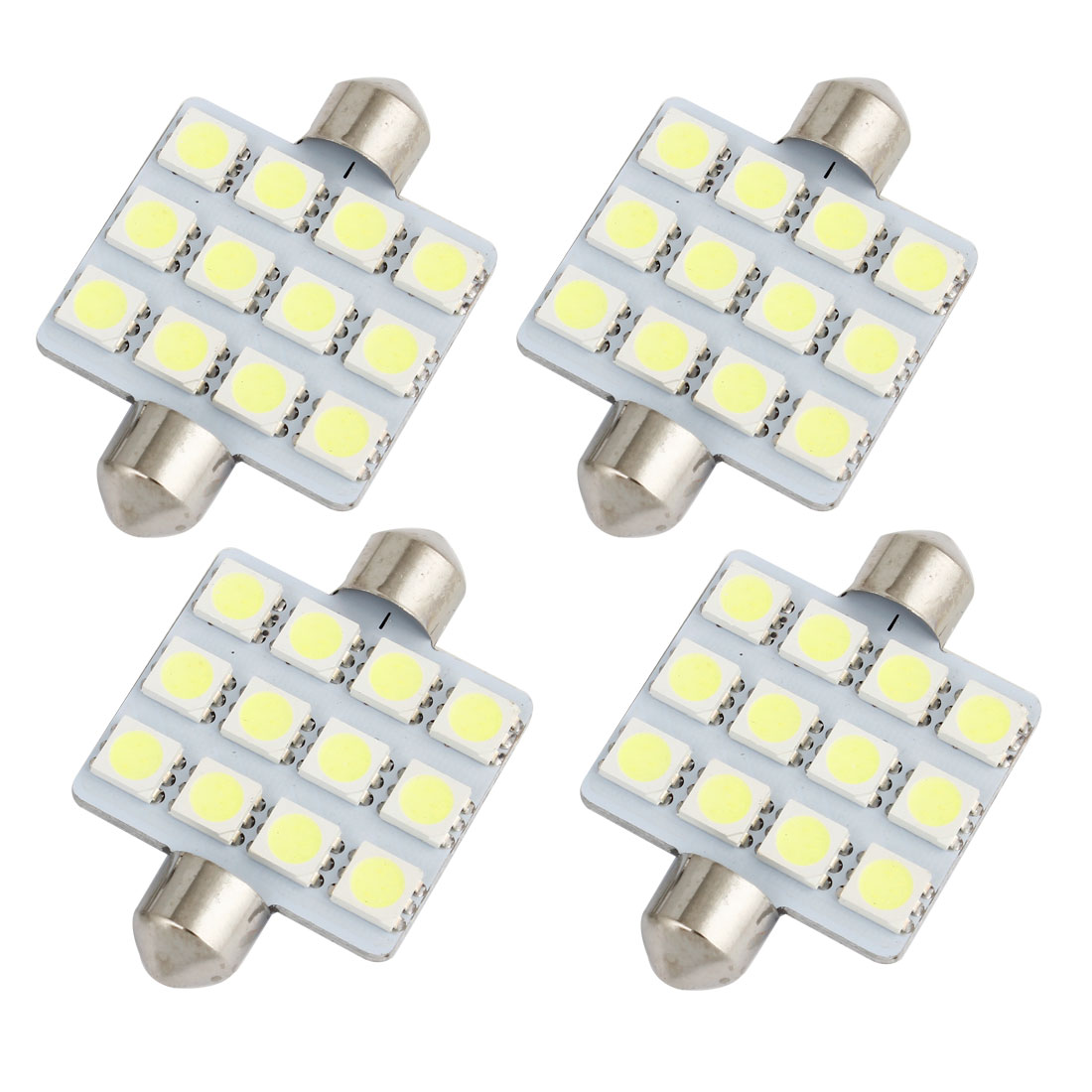4pcs 41mm 5050 SMD 12-LED Festoon Dome Light White 6413 211-2 212-2 560 Internal