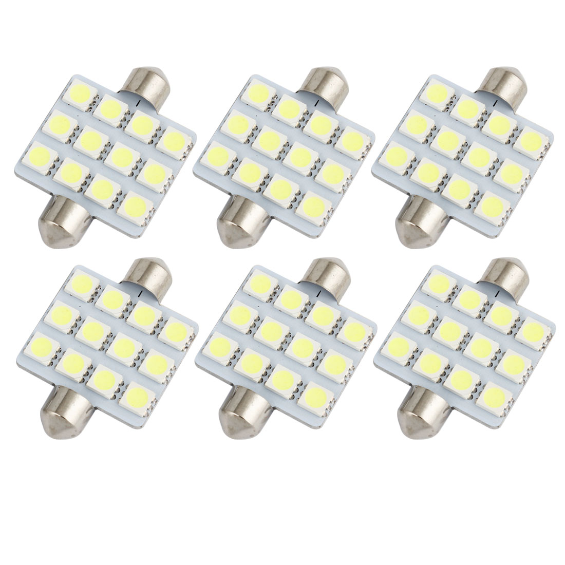 6pcs 41mm 5050 SMD 12-LED Festoon Dome Light White 6413 211-2 212-2 560 Internal