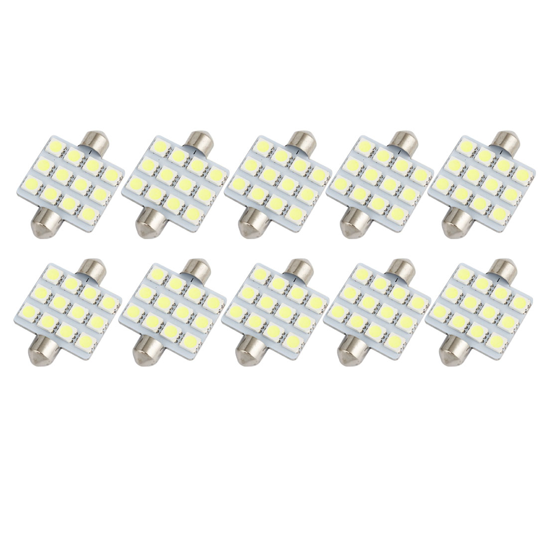 10pcs 41mm 5050 SMD 12-LED Festoon Dome Light White 6413 211-2 212-2 560 Internal